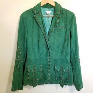 Cache Rare Green 100% Suede Jacket w/ Stud Details